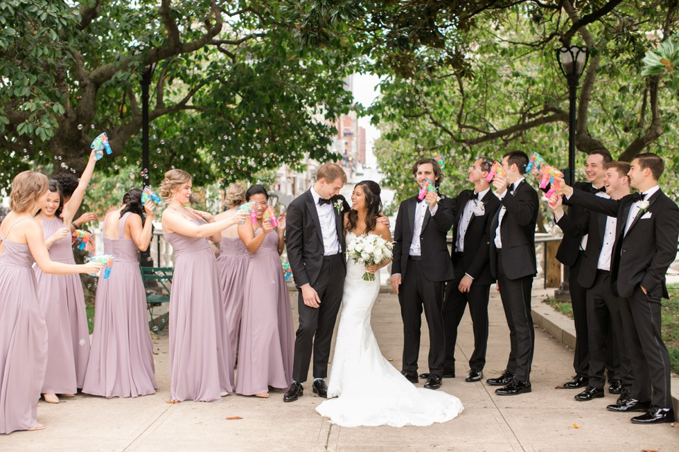 George Peabody Library wedding bubble guns