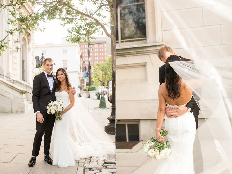George peabody library in Baltimore bride and groom wedding photos