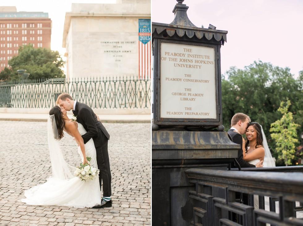 The Washington Monument Baltimore bride and groom wedding photos
