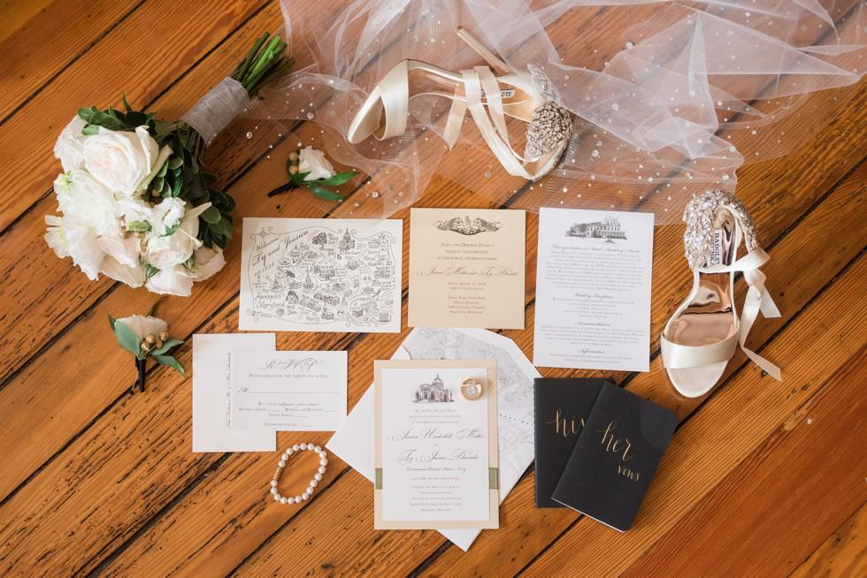 Cink art - US Naval Academy Chapel Wedding invitations