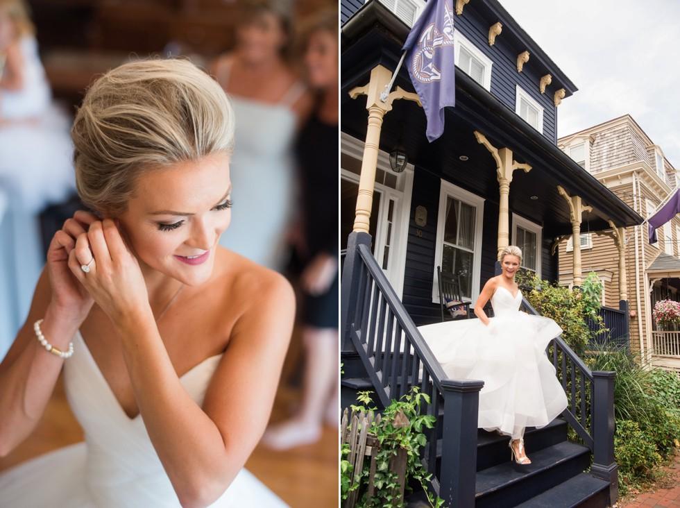 bride getting ready in Annapolis Air B&B