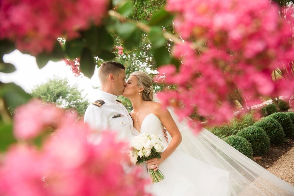Superintendent's garden USNA bride and groom photos