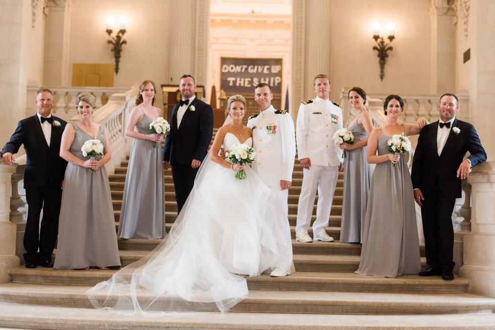 Don't give up the ship wedding photos at Bancroft Hall