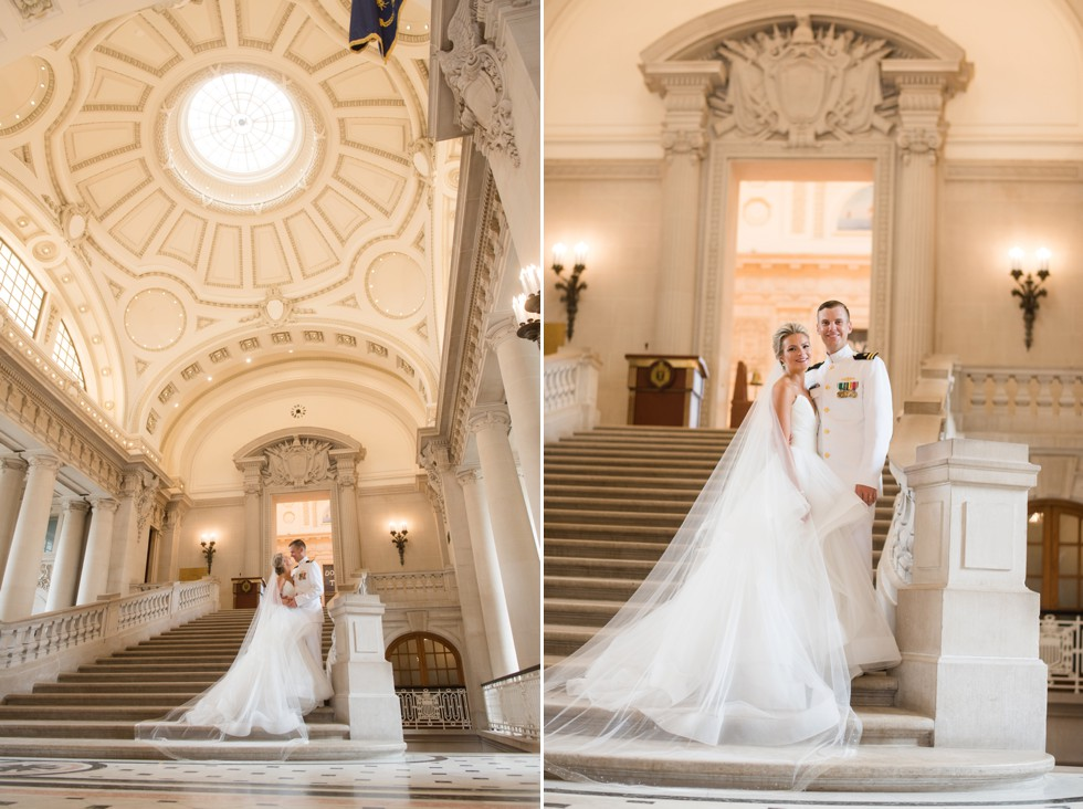 USNA Annapolis wedding photos at Bancroft Hall