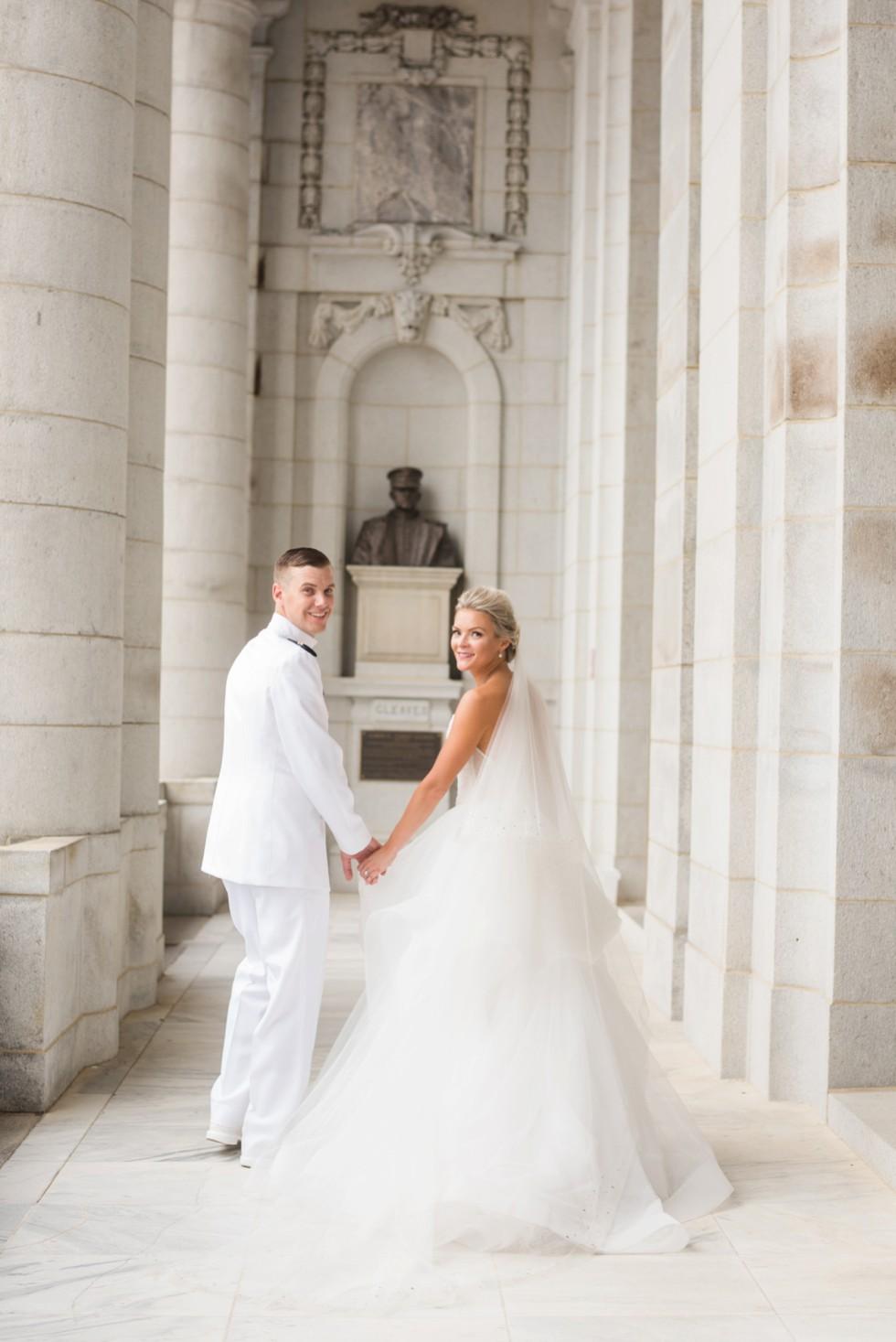 USNA Annapolis wedding photos at Memorial Hall