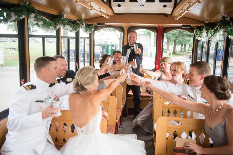 Annapolis wedding champagne toast