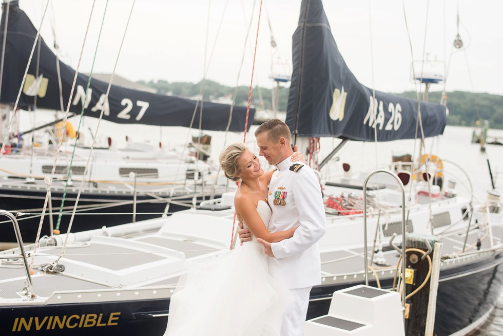 wedding photo with Sailboats and marina in Annapolis