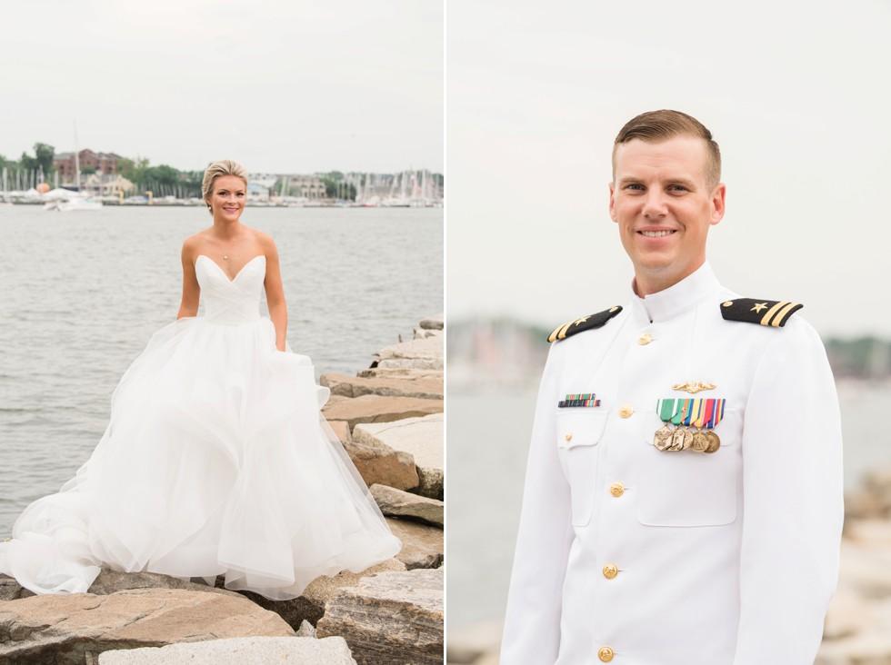 USNA Rock wall wedding photo