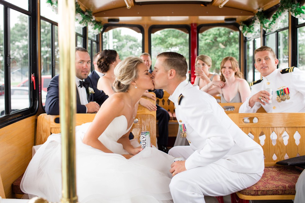 Annapolis trolley bride and groom kissing