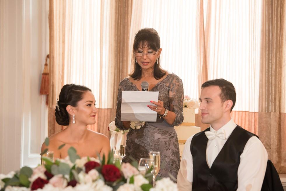 Belvedere Hotel Charles Ballroom wedding toasts