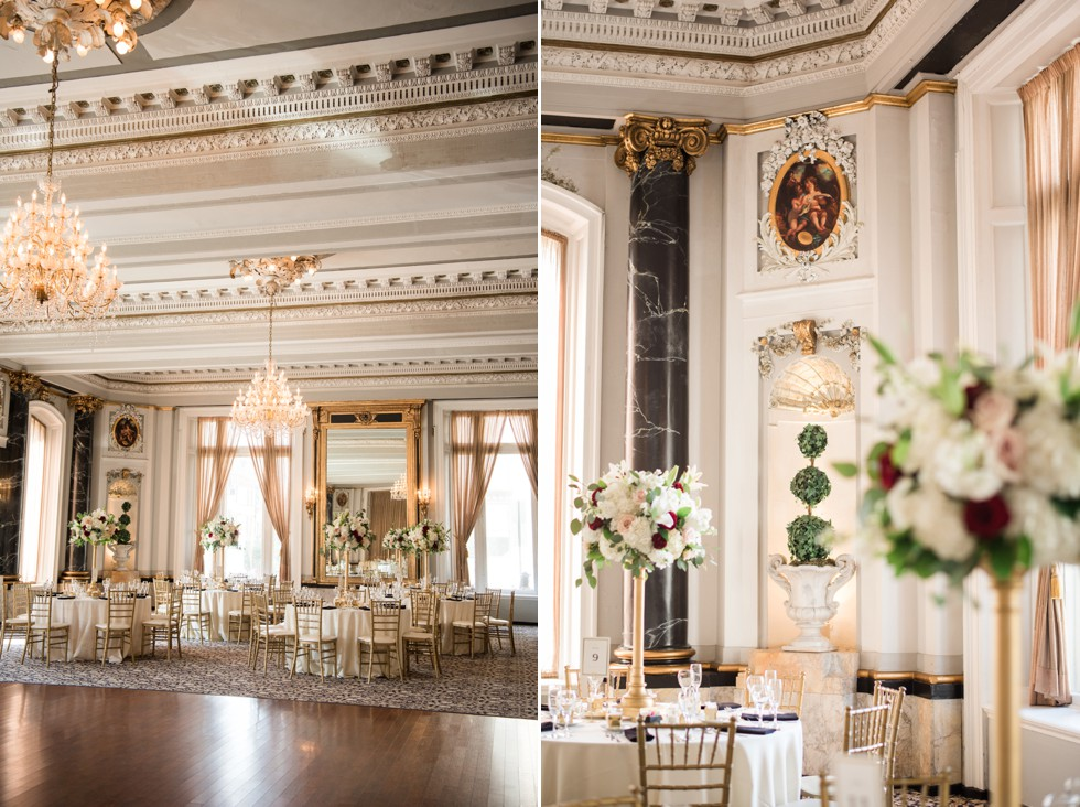 Belvedere Hotel Charles Ballroom wedding reception decor