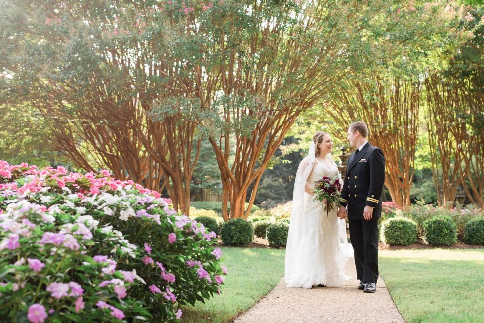 Superintendent's Garden USNA wedding couple