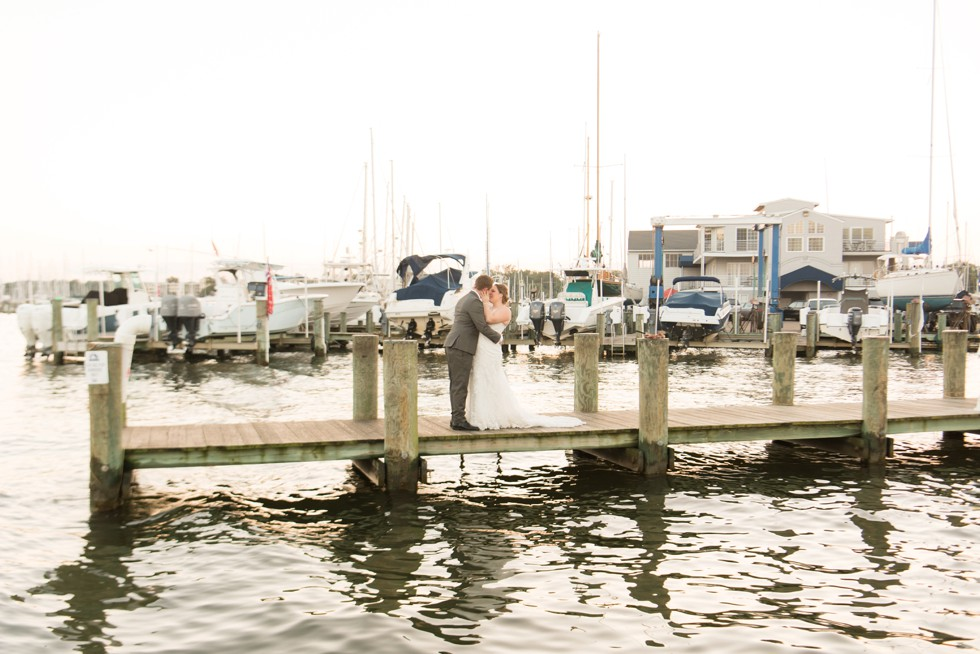 sunset wedding photos at Annapolis Maritime Museum