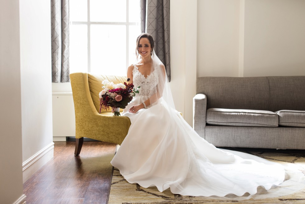 Hotel Indigo Baltimore wedding bridal portraits