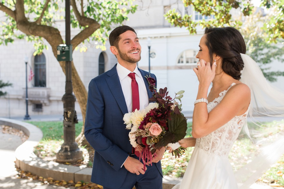 Peabody Library Mount Vernon Wedding first look