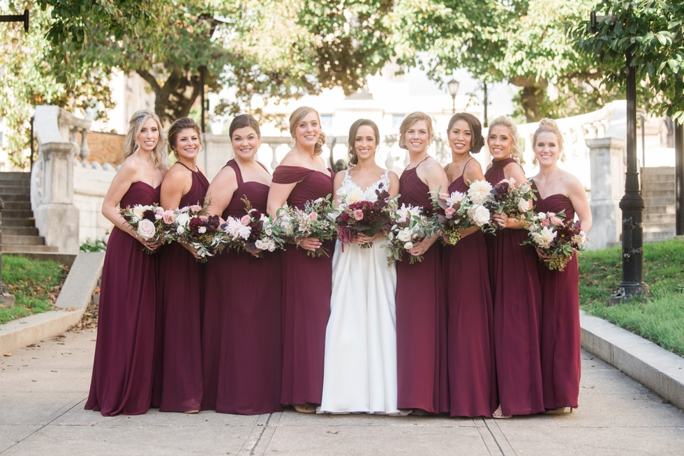 Mount Vernon Place park bridesmaids in maroon