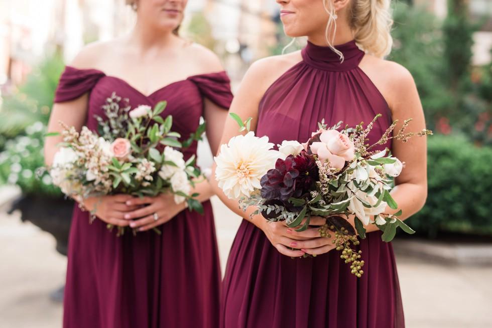 SteelCut Flower Co bridesmaids in maroon