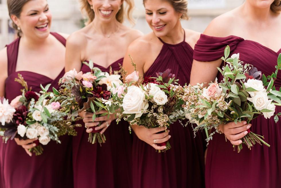 Walters Art Museum SteelCut Flower Co bridesmaids in maroon