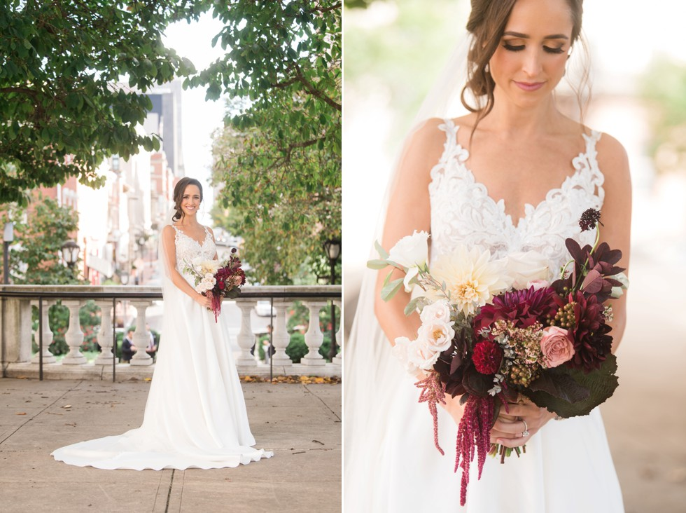 SteelCut flowers bridal portraits in Mount Vernon Place near George Peabody Library