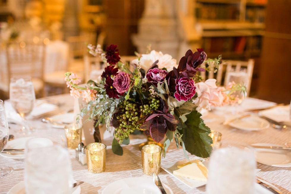 Nouvelle Weddings at George Peabody Library Wedding maroon SteelCutFlowers