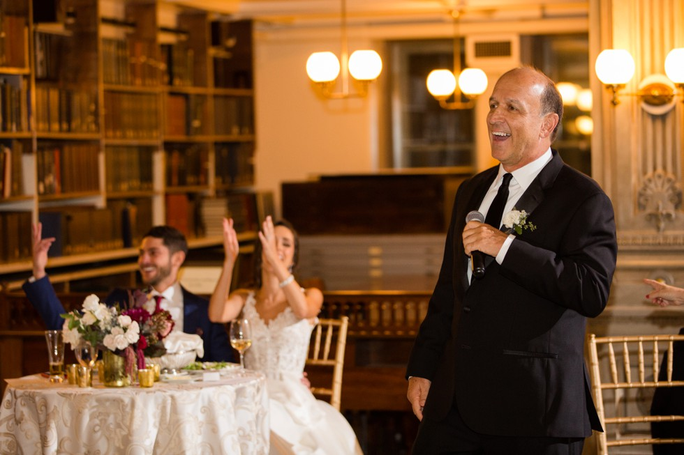 Baltimore George Peabody Library wedding reception toasts