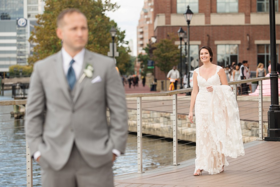 First look bride and groom in Baltimore harbor