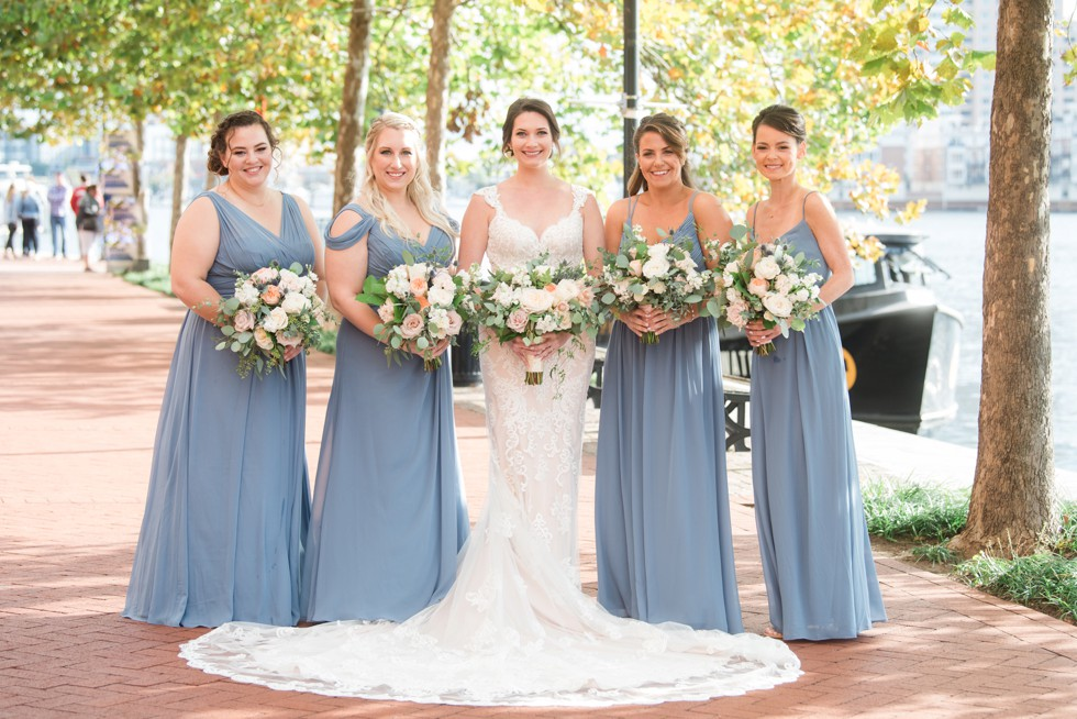 Baltimore Marriott waterfront wedding party photos