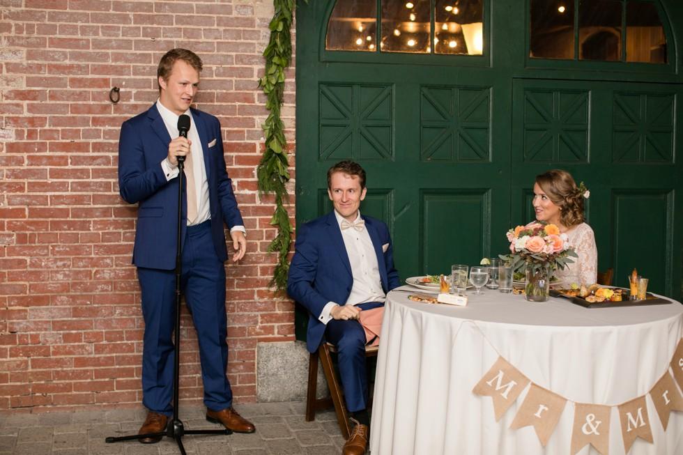 Evergreen Museum wedding reception toasts
