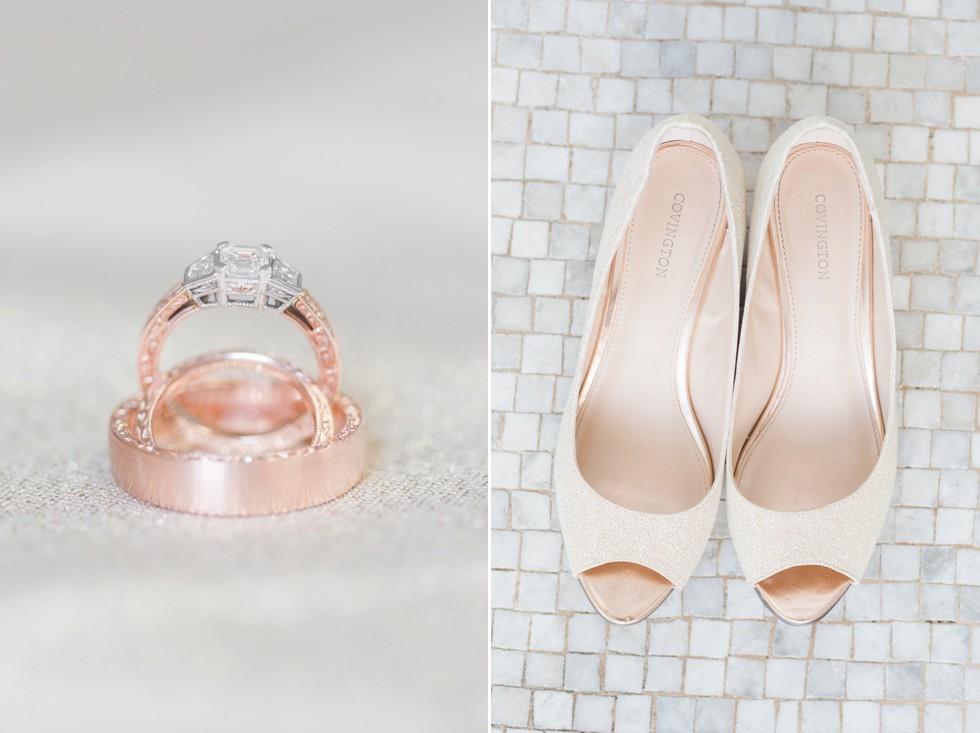 blush wedding shoes - rose gold wedding rings - Associate Wedding Photographer Anna