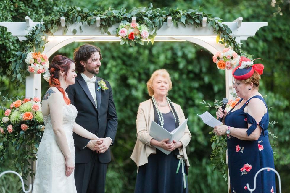 Garden wedding ceremony Overhills Mansion - Associate Photographer Anna