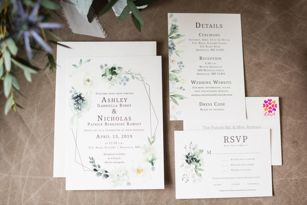 Annapolis Westin Wedding invitations