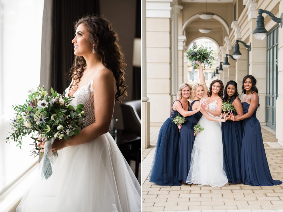 Bridesmaids in Navy Westin Hotel Annapolis