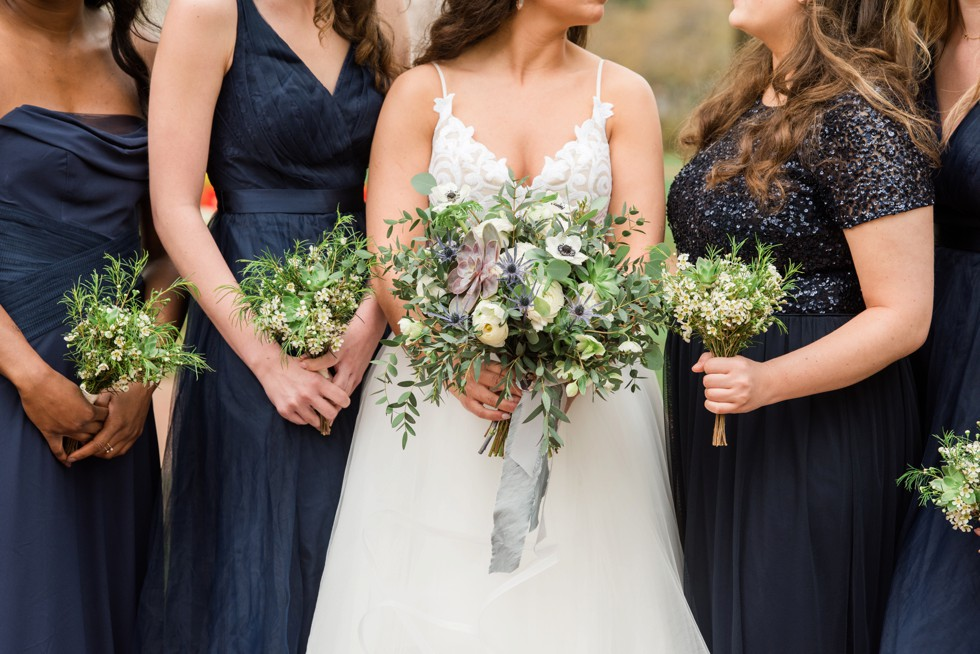 Floret + Vine wedding flowers navy bridesmaid