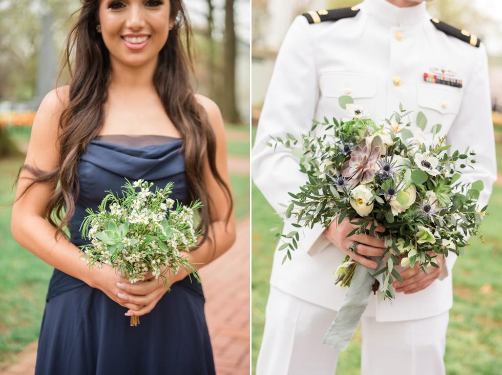 Floret + Vine wedding flowers navy bridesmaid