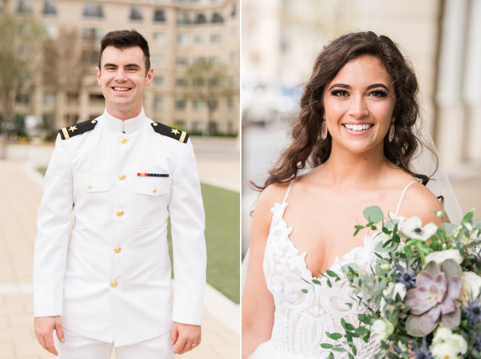 USNA groom and bride portrait