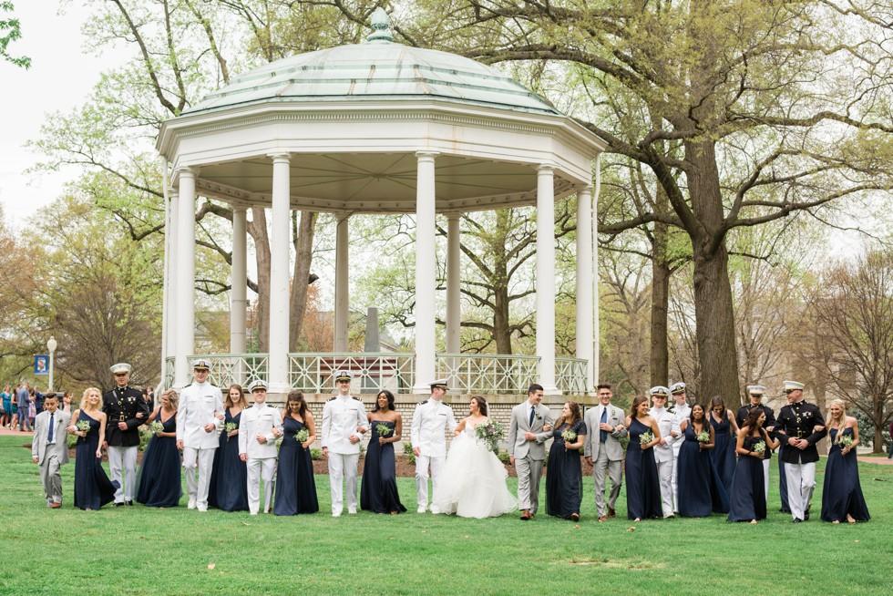 Radford terrace wedding party photos at USNA