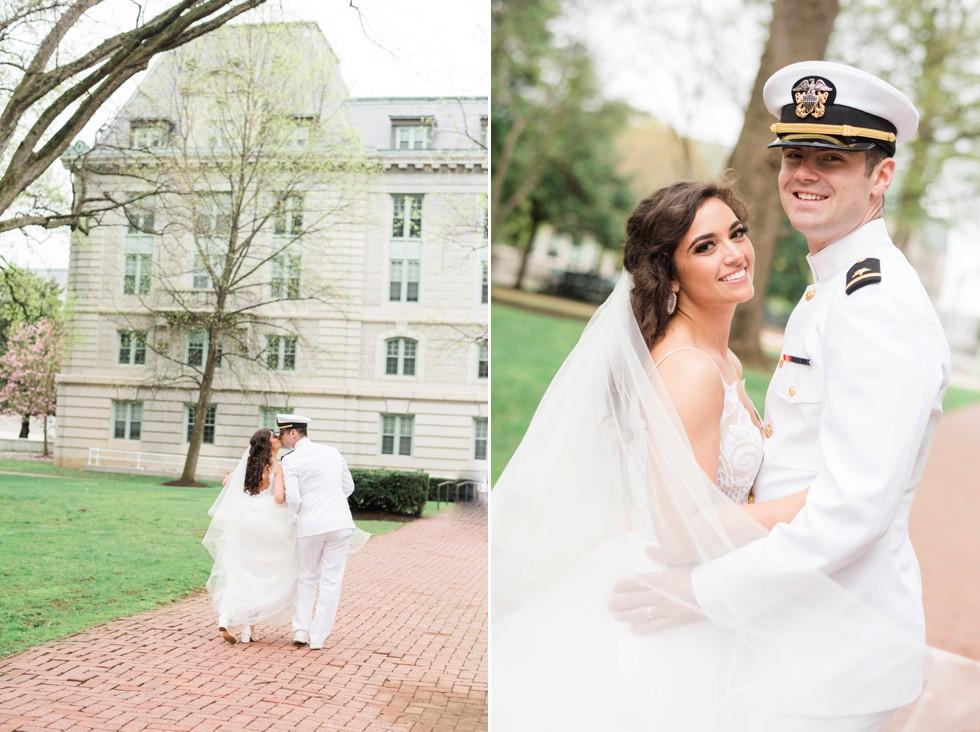 Bride and groom kissing on Buchanan walk way