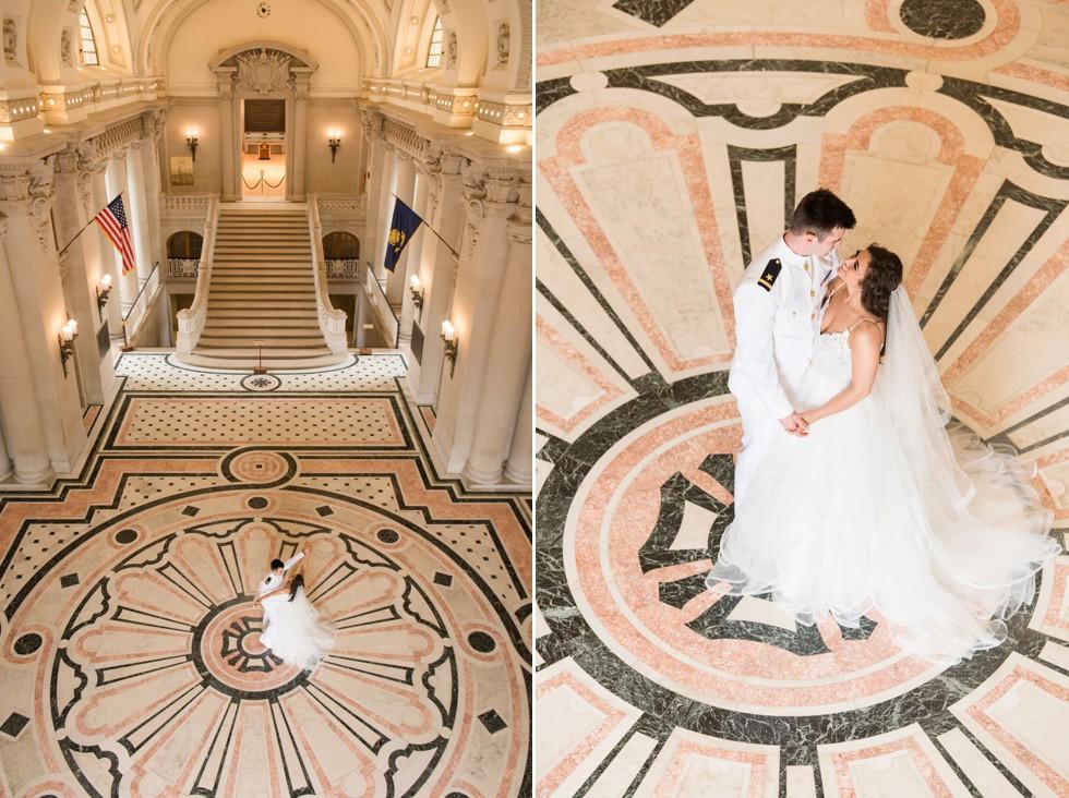 Bride and groom Bancroft Hall USNA wedding