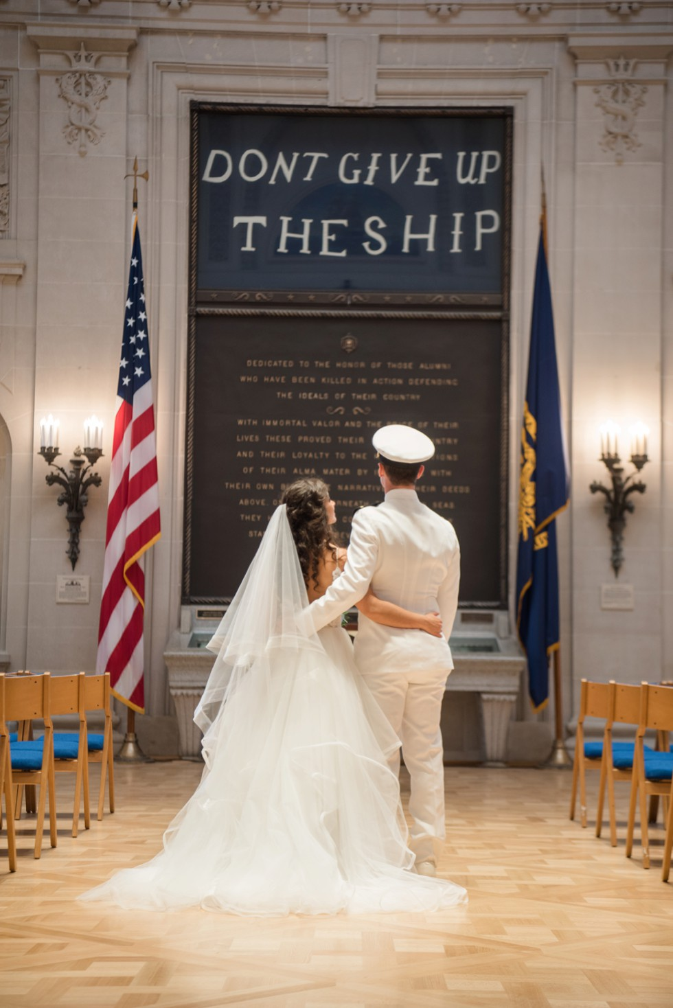 Dont give up the ship Bride and groom Memorial Hall USNA wedding