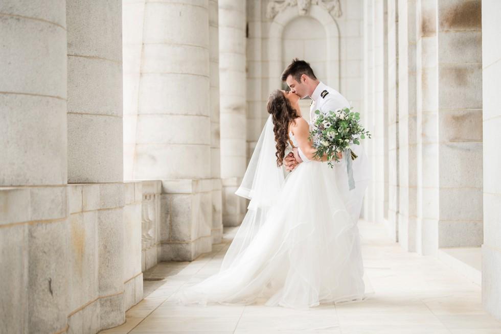 Bancroft Hall USNA wedding couple