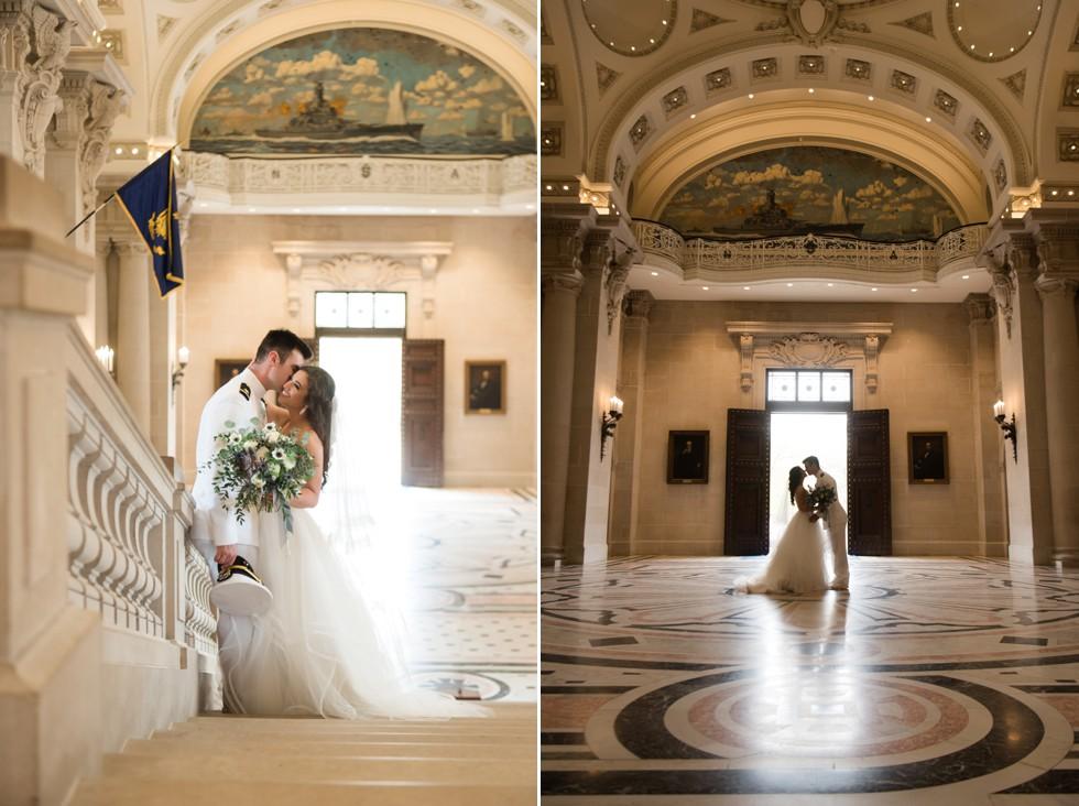 Bride and groom Memorial Hall USNA wedding