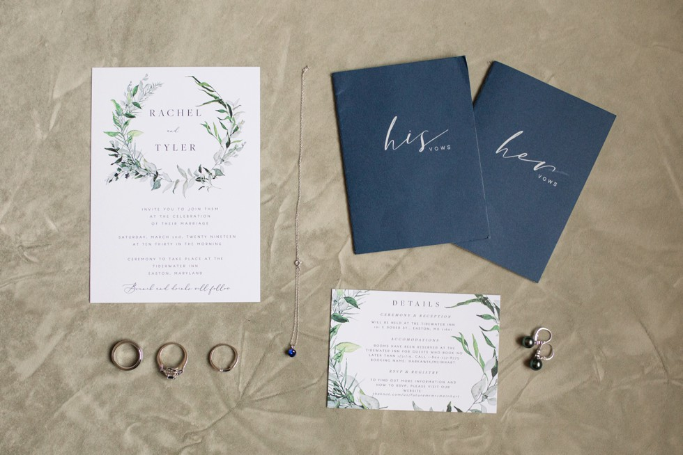 The Tidewater Inn Baltimore Wedding Stationary Invitation Rings