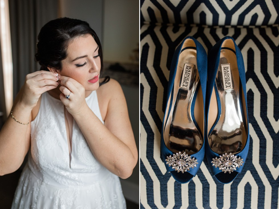 The Tidewater Inn Baltimore bride getting ready wedding shoes