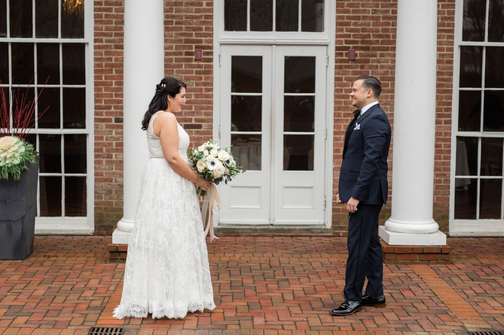 The Tidewater Inn Baltimore bride and groom first look