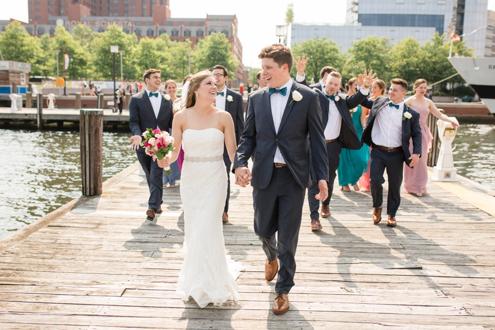 Wedding party Baltimore harbor