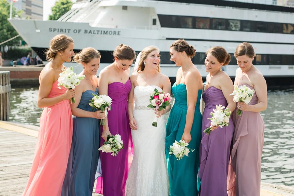 Bridesmaids multi-color dresses Baltimore harbor