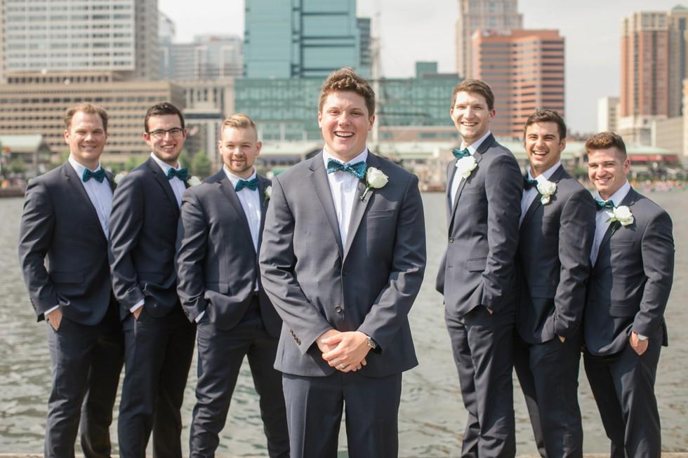 Groomsmen Baltimore Harbor wedding