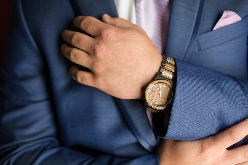 wood grooms watch James Allen and Manly Bands wedding rings