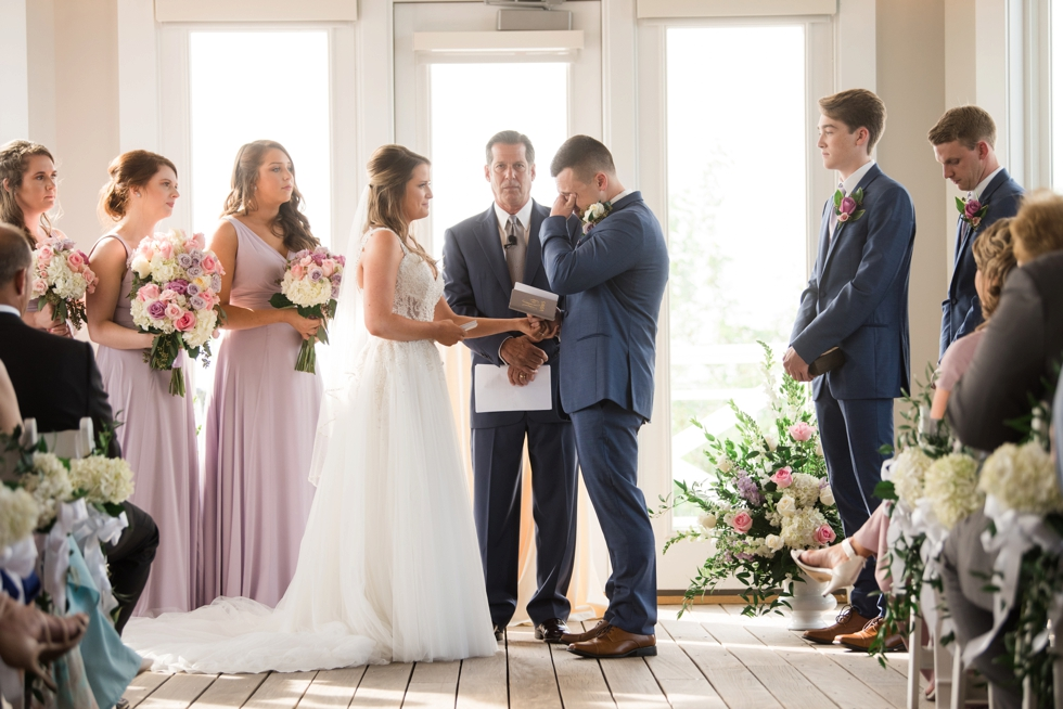 Sunset ballroom wedding Ceremony deck Chesapeake Bay Beach Club