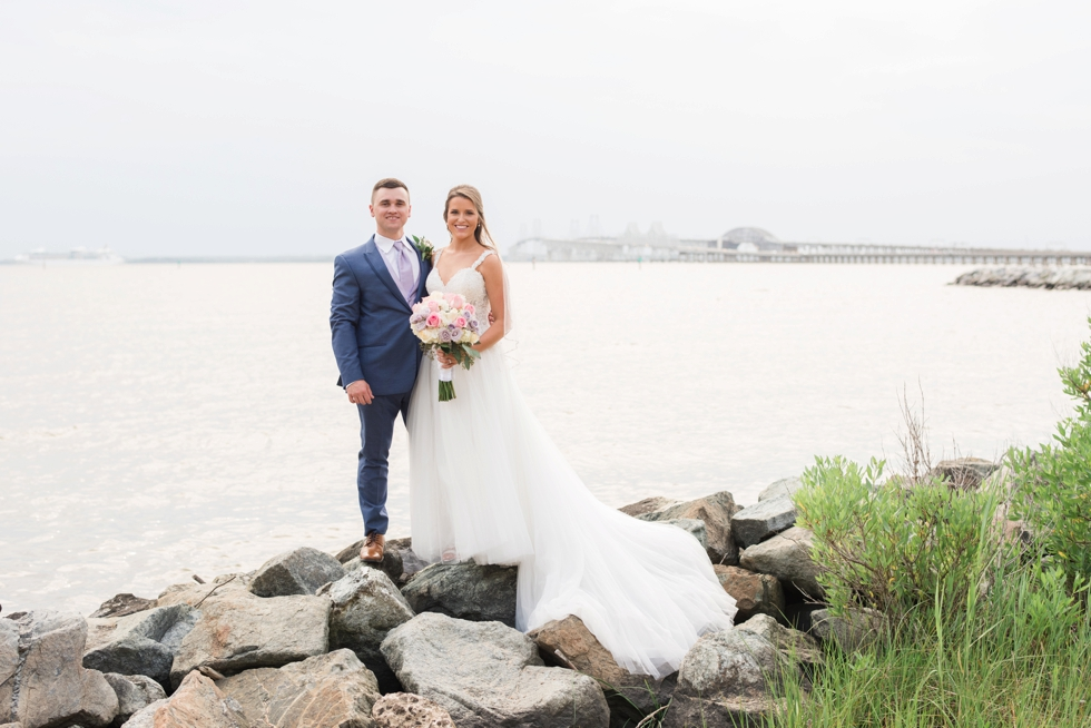 On the rocks Chesapeake Bay Beach Club wedding couple